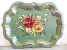 Vintage Hand Painted Pink Roses Shabby Chippy Chic Green Toleware Tole Tray | eBay