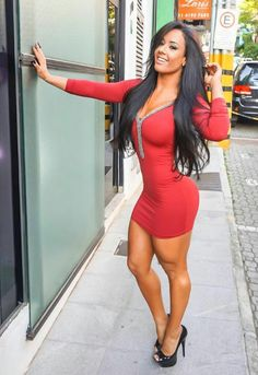 She Lasmar Big Boobs legs perfect muscular body tight mini red dress Sexy Outfits, Dress Outfits, Fashion Dresses, Tight Dresses, Girls Dresses, Pink Dresses, Barbie, Brown Eyed Girls, Mini Vestidos