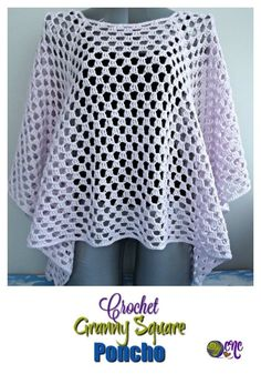 A free pattern for the Crochet Granny Square Poncho. The poncho is easy to adjust A free pattern for the Crochet Granny Square Poncho. The poncho is easy to adjust Crochet Pattern Free, Crochet Square Patterns, Granny Square Crochet Pattern, Crochet Squares, Crochet Granny, Easy Crochet, Granny Squares, Shrug Pattern, Crochet Summer