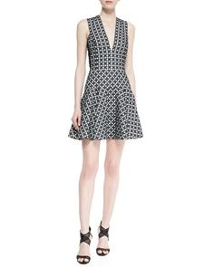 Sleeveless Printed Dress with Flared Skirt by DKNY at Neiman Marcus.