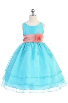 Aqua Organza Simple Layered Flower Girl Dress with Sash