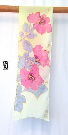 Silk Scarf Handpainted Pink Hawaiian Hibiscus chartreuse