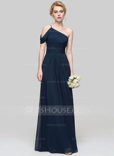 A-Line/Princess One-Shoulder Floor-Length Ruffle Zipper Up at Side Cap Straps Sleeveless No Dark Navy Spring Summer Fall General Plus Chiffon Bridesmaid Dress