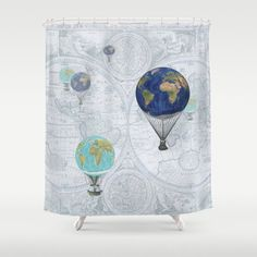 Australia shower curtain vintage map aqua by mapology on etsy hot air balloons shower curtain fanciful world flight gumiabroncs Gallery