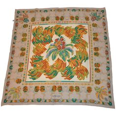 """Cartier """"Must be Cartier"""" """"Flamingos & Palm Trees"""" Silk Crepe di Chine Scarf 1"""