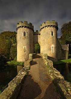 Whittington Castle Drawbridge in Shropshire, England