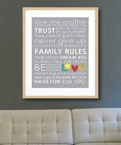 Love this Gray 'Family Rules' Print on #zulily! #zulilyfinds