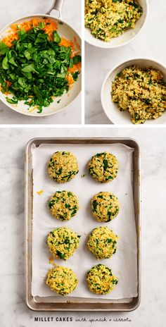 Millet Cakes with Carrots & Spinach
