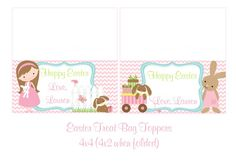 Cute Easter Treat Bag Toppers Pink Chevron by TheLovelyMemories, $8.00