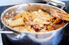 Skillet lasagna. Save yourself from the hassle and wait of normal lasagna. Just as delicious!