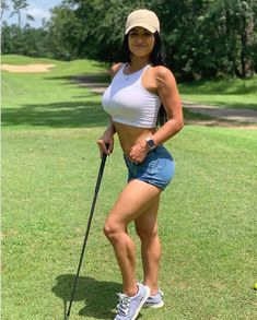 Image may contain: one or more people, people standing, people playing sports, golf, outdoor and nature Girls Golf, Ladies Golf, Girl Golf Outfit, Sexy Golf, Perfect Golf, Golf Player, Golf Skirts, Golf Pants, Sporty Girls