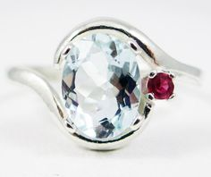 Aquamarine Ruby Silver Ring Oval Cut Round Cut Sterling Bazaars R Us Custom Jewelry Accent