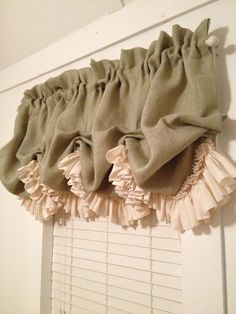 Made of sage green burlap with a very full ruffle of natural muslin. It is lined in muslin. This one is 25 inches long but I can make it any length