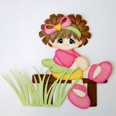 Girl on a Bench Summer Park Paper Piecing Pre-Made Embellishment