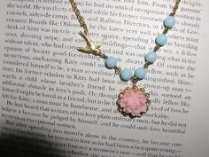 Little Bird Pink Rose Necklace by luvswoodencars2 on Etsy, $17.00