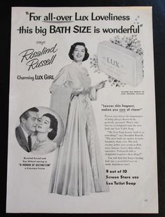 Magazine Advertisement for Lux Soap Featuring Rosalind Russell | 21 Vintage Street Lux Soap, Rosalind Russell, Vintage Items, Advertising, Make It Yourself