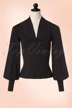 Miss Candyfloss Black Shirt with Puffed Sleeves 111 10 11184 20161013 0005pop