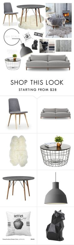 """Home: Shades of Grey"" by sarah-charles-1 ❤ liked on Polyvore featuring interior, interiors, interior design, home, home decor, interior decorating, Joybird Furniture, Lene Bjerre and PyroPet"