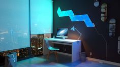 Nanoleaf's LED Aurora light panels add a splash of 'living paint' to your walls. Panel Led, Led Panel Light, Home Automation System, Smart Home Automation, Nanoleaf Designs, Nanoleaf Aurora, Nanoleaf Lights, Diy Simple, Smart Lights