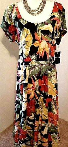 8db03070d52 NWT Chaps Womens Red and Yellow Floral Cotton Short Sleeve Dress Plus 2X   Chaps
