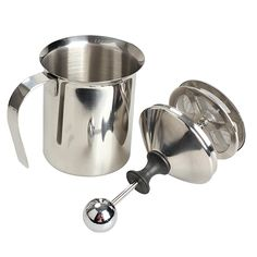 #royalcoffeeandtea ASLT Hign Quality Stainless Steel Pump Milk Frother Creamer Foam Cappuccino 400ML Coffee Double Mesh Froth Screen Silver