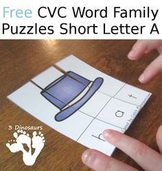 My youngest is just getting into the CVC Word Family learning. She also loves puzzles. I thought it would be fun to put her favorite learning activity together for her. Word Family Activities, Cvc Word Families, Short A Activities, Phonics Words, Cvc Words, Kindergarten Literacy, Literacy Activities, Literacy Centers, Word Puzzles