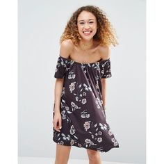 ASOS Off Shoulder Dress in Floral Print ($36) ❤ liked on Polyvore featuring dresses, multi, floral printed dress, loose dress, botanical dress, floral print dress and asos dresses