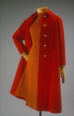 ~Anne Fogarty (American, 1919–1980). Day dress and coat, fall 1957~       The Metropolitan Museum of Art, New York. Gift of Anne Fogarty, 1963 (C.I.63.47.3a,b) #reddress