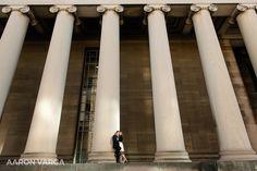 Mellon Institute pillars engagement   Pittsburgh Wedding Photographers   Aaron Varga Photography