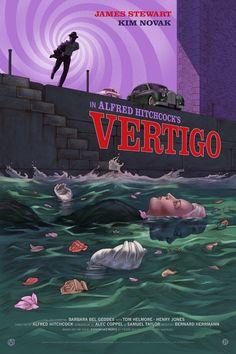 BROTHERTEDD.COM - Vertigo — Jonathan Burton Screen Print Poster, Poster Prints, Vertigo Alfred Hitchcock, Vertigo Movie, Ghibli, Barbara Bel Geddes, Old Film Posters, Night Of The Demons, House On Haunted Hill
