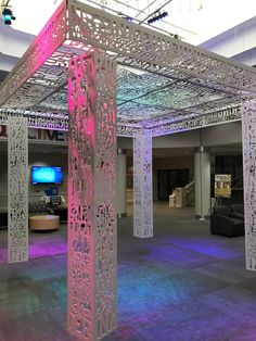 """We created this sculpture for the JCC in Memphis, TN, and it was so much fun! . Several words with religious meanings from various languages were cut into metal with our CNC router which, ultimately, created the theme """"Inclusion"""" within this chuppah."""