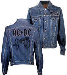 This AC/DC blue jean denim jacket features the Australian hard rock band's famous logo on both the front and the back. The back also prominently displays the cannon seen on the album cover artwork from their 1981 release, For Those About to Rock. Created with distressed effects for a vintage worn-in look and feel.