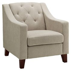 Tufted Upholstered Arm Chair -Threshold™ - Taupe