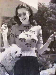 40s Cherry on top sweater vintage knitting pattern  b32 b34 b36 by VanessaLovesVintage, $1.99