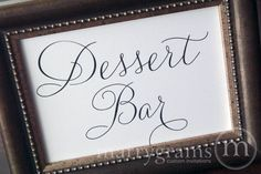 Dessert Bar Sign or Candy Buffet Station Table Card Sign - Wedding Reception Seating Signage - Matching Numbers Available SS01. $4.00, via Etsy.