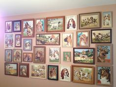 Dig the look of vintage paint by number collage walls.