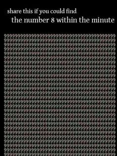 Quiz:- Find the number 8 in the picture within a minute.....Like if you found it...;) www.galaxyoptician.com