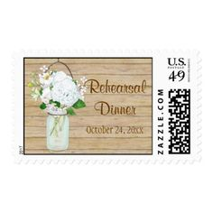 Rustic Country Mason Jar Flowers White Hydrangeas Postage