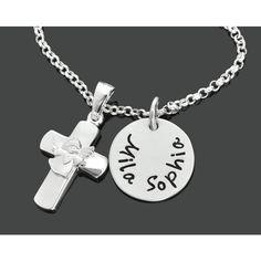 Eine schöne 925 Sterling Silber Kette mit einem 925 Sterling Silber Namensplättchen und einem massiven 925 Sterling Silber Kreuz mit einem Engel vorne designed.Exklusiver Taufschmuck mit Gravur, besondere Taufkette aus 925 Sterling Silber.