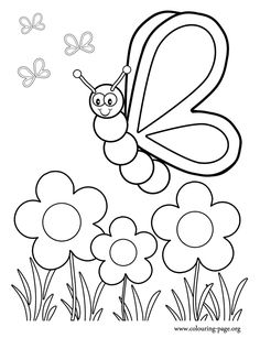 In this amazing picture, a cute butterfly is watching the pretty flowers in the garden. What about coloring and have fun?