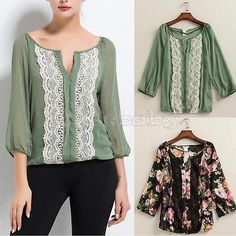 Fashion Women Clothing Floral Lace Chiffon Long Sleeve Tops Blouse Shirt T-shirt | eBay