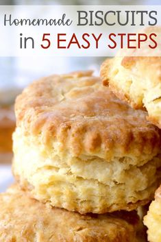 Southern Homemade Biscuits A quick and simple recipe for Homemade Southern Biscuits that bake up perfectly golden on the outside, flaky and buttery on the inside. Southern Homemade Biscuits, Homemade Biscuits Recipe, Quick Biscuit Recipe, Easy Biscuit Recipes, Bisquit Recipes, Easy Recipes, Baking Recipes, Dessert Recipes, Dinner Recipes