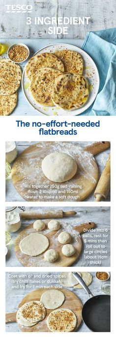 super-easy flatbreads are made with flour, oil and water and take minutes to cook in a pan. Add your favourite spices to finish and you've got the perfect side for dipping, dunking or mopping up curries and tagines. Indian Food Recipes, Vegan Recipes, Curry Recipes, Vegetarian Recipes For Kids, Recipes Kids Can Make, Cajun Recipes, Skillet Recipes, Diet Recipes, Tesco Real Food