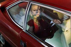 Portrait séance #shooting #mariage #vintage #voiture #rouge #modèle #photgraphie