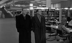 Wings of Desire [Der Himmel über Berlin] (1987, West Germany). Listening to the inner thoughts of dozens of library researchers, two angels, Damiel (Bruno Ganz) and Cassiel (Otto Sander), find solace in the West German Library (now a branch of the Berlin State Library) at Potsdamer Straße 33 in Berlin. http://www.imdb.com/title/tt0093191/