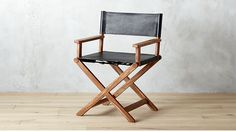 curator black leather director's chair   cb2