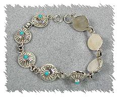 Authentic Native American Sterling Silver and Turquoise half bead link bracelet
