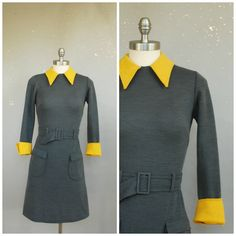 1960s Grey Collared Day Dress by ohlunevintage on Etsy, $26.00 Women's vintage mod fashion clothing outfit for fall winter work