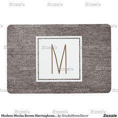 Modern Mocha Brown Herringbone Monogrammed Floor Mat