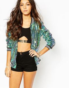 Buy Jaded London Bomber Jacket in Mermaid Sequin at ASOS. Get the latest trends with ASOS now. Glitter Jacket, Sequin Jacket, Latest Fashion Clothes, Fashion Outfits, Womens Fashion, Fashion Online, Sporty Fashion, Sporty Chic, Stage Outfits